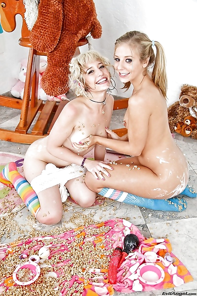 Cute young blondes in socks..