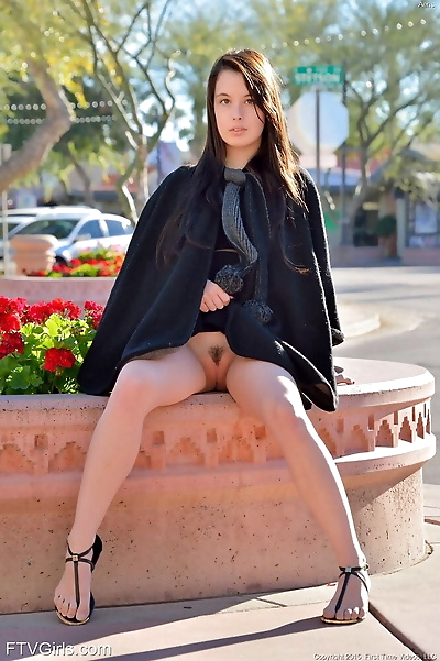 Sexy brunette cutie strips..