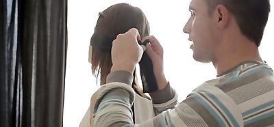 Blindfolded teen Anna Taylor..